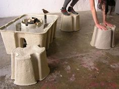 Paper pulp furniture is stronger than it looks. Bamboo has been praised for several years as the most sustainable material for furniture (due to its quickly