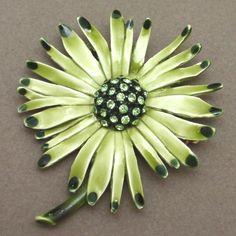 Flower Pin Vintage Rhinestones and Enamel Brooch HAR Shades of Green