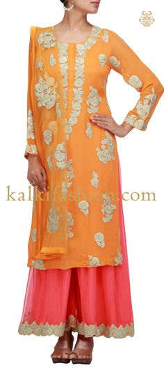 Buy it now http://www.kalkifashion.com/orange-suit-with-palazzo-pants-and-cut-work-embroidery.html Orange suit with palazzo pants and cut work embroidery