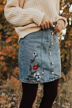 Embroidered Denim Skirt | ROOLEE
