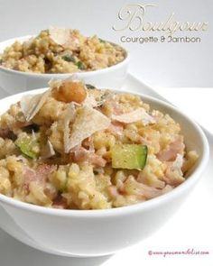 Boulgour façon risotto aux courgettes et jambon