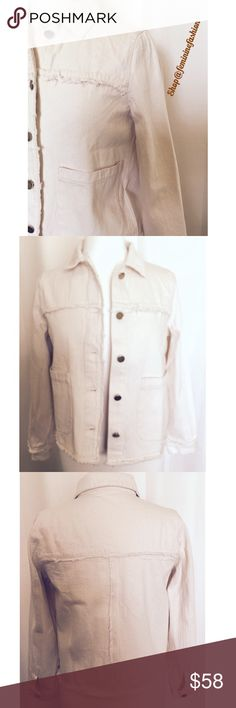 """Cream Denim Jacket Cream washed denim jacket with fringe trim. Two pickets. Brass toned buttons. A must have staple for your Spring wardrobe🌺                                        Approximate measurements laying flat: Small-Bust 18"""" Sleeves 22 1/2    Shoulders 14 1/2   Length 21 1/2 Medium-Bust 19"""" Sleeves 23""""    Shoulders 15"""" Length 21 1/2 MOD REF Jackets & Coats Jean Jackets"""