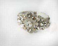 Swarovski Crystal and crystal golden shadow hand beaded #bridal #cuff from www.allaboutromance.com.au  Photography : livinglightphotography.com.au
