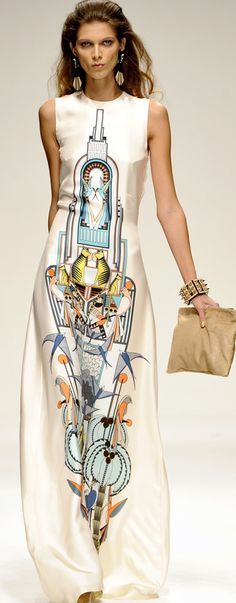 Printed maxi dress with big bold art deco placement print; graphic pattern fashion // Holly Fulton