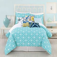 Clearance - Trina Turk Trellis Turquoise Queen Comforter Set by Trina Turk Bedding : The Home Decorating Company