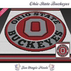 Ohio State crochet blanket pattern knitting by TwoMagicPixels Needlepoint Patterns, Crochet Blanket Patterns, Knitting Patterns, Crochet Ideas, Crochet Projects, Ohio State Buckeyes, Buckeyes Football, College Football, Ohio State Crafts