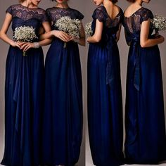 Impressive Discount Cap Sleeve Top Seen-Through Lace Elegant Royal Blu – AlineBridal