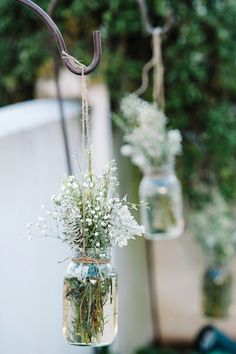 Just a little twine, flowers and a mason jar. So romantic! Style Me Pretty | GALLERY & INSPIRATION