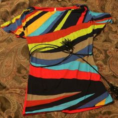 Short Sleeve Top with Belt Cute top with Tassled Belt. NWOT Tops