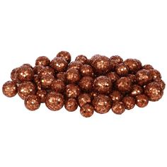 "72ct Orange Copper Sequin and Glitter Christmas Ball Decorations 0.8"" - 1.25"""
