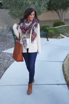 blanket scarf | caramel leather accents