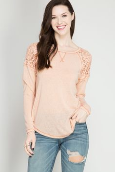Long Sleeve Peach Lace, you'll be pretty in peach with this cute top!
