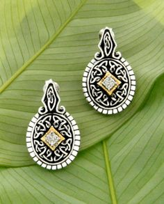 Celtic Silver and Gold and Diamond Earrings