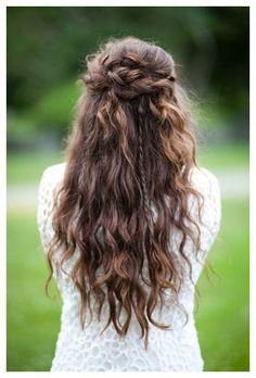 half up half down braided wedding hair ~ we ❤ this! moncheribridals.com #longcurlyweddingha