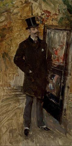 """Giovanni Boldini (Italian, 1842-1931) """"Ritratto di uomo con la tuba"""""""
