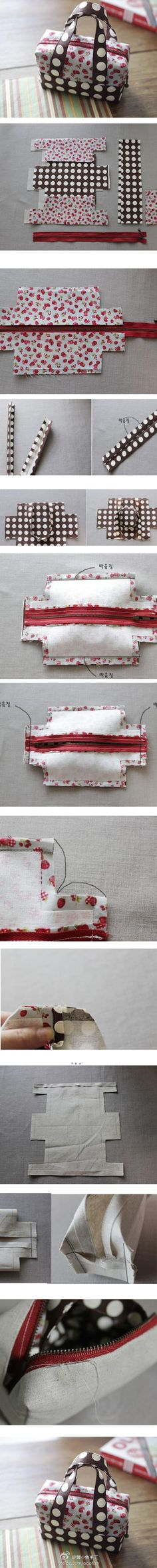 """Cute DIY Bag - simple to make, very very useful in all sizes. Great for travel, makeup bags, """"in-purse"""" bags, etc."""