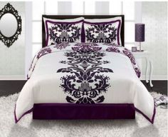 Royal Royal Purple White Black Damask Comforter Sham and Bedskirt Set for a teenage girl bedroom with modern room decor