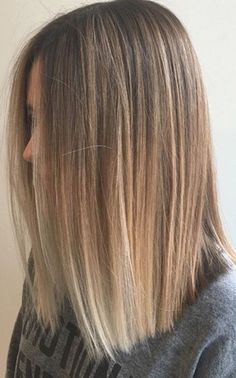 Blunt straight lob style bob ombré and balayage with straight cut