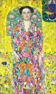 Portrait Of Eugenia Primavesi by Gustav Klimt, 1913. Eugenia Primavesi (born Butschek) was married with Otto Primavesi a banker and industrialist in Olmütz and one of the main backers of the Wiener Werkstätte. She had big influence over the art patronage of her husband. He commisioned a portrait of his wife as well as from his daughter from Klimt. Otto Primavesi died in February 1926, in Mai the bankhouse in Olmütz went bankrupt.