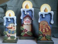 Wooden candles with painted snowman, ging er, and Santa. Christmas Wood Crafts, Country Christmas, Christmas Projects, Winter Christmas, Holiday Crafts, Christmas Time, Christmas Decorations, Christmas Ornaments, Tole Painting Patterns