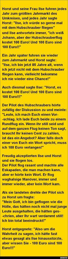 Horst und seine Frau Ilse fuhren jedes Jahr zum größten.. | Lustige Bilder, Sprüche, Witze, echt lustig