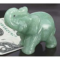 Hand-Carved Jade Elephant! Beautiful! Healing properties of Jade and elephant with up-turned trunk. #Powerful