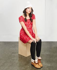 Girly Textured Lace Skater Dress | Wet Seal #lace #skaterdress
