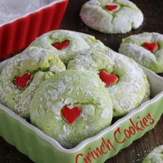 Grinch Cookies Recipe Desserts with french vanilla cake mix, vegetable oil, eggs, green food coloring, powdered sugar, sprinkles