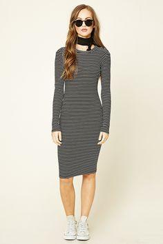 Stripe Midi Bodycon Dress