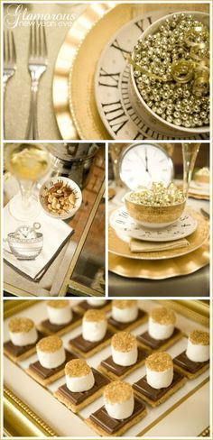 gold glittery new years theme...LOVE the glitter topped marshmallows