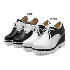 Lace Up Women Wedges Platform Shoes High Heels