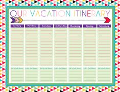 Road Trip Planner Template Fresh Free Printable Daily and Weekly Vacation Calendars Itinerary Planner, Travel Itinerary Template, Road Trip Planner, Vacation Planner, Travel Planner, Templates Printable Free, Free Printables, Schedule Templates, Printables