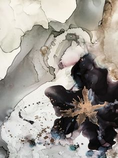 detail of smoke and mirrors abstract ink and gold leaf on claybord by nc artist amanda moody #abstractart