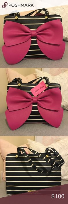 BNWT Betsey Johnson B&w Striped Satchel w Pink Bow BNWT Betsey Johnson black and white striped with a raspberry colored bow  fun inside and surprising raspberry details on the bottom - 8x13x5 on the inside. Is a little taller than 8 Betsey Johnson Bags Satchels