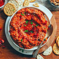 Try this Easy Muhammara Dip recipe, or contribute your own. Baker Recipes, Vegan Recipes, Savoury Recipes, Sauce Recipes, Muhammara Recipe, Vegan Pulled Pork, Vegan Apps, Aleppo Pepper, Vegan Potato Salads