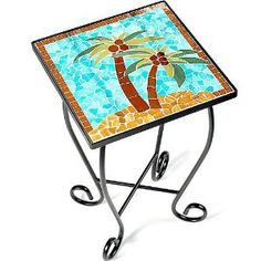 Palm Island Home Palm Trees Mosaic Accent Table