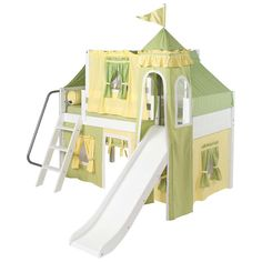 Twin Low Loft Castle Bed with Slide and Green/Yellow Fabrics. Solid birch modular kids beds and furniture available in chestnut, white or natural finishes.