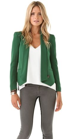 Silk Rebecca Minkoff blazer in hunter green.  True to size and even more beautiful in person. #shopbop