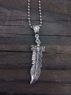 SOUTHWEST PENDANT LARGE FEATHER AND DRAGONLY (FREE SHIPPING)