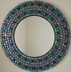 Beautiful Handmade Mosaic Mirror Bevelled Edge Glass Turquoise And Black Glitter  Mosaic Tile