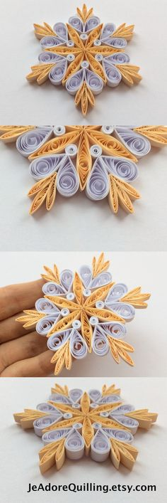 Snowflakes Beige White Christmas Tree Decor Winter Ornaments Gift Toppers Fillers Office Corporate Paper Quilling Quilled Handmade Art