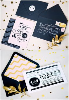 love these navy and gold invitations.. and the chevron pattern!