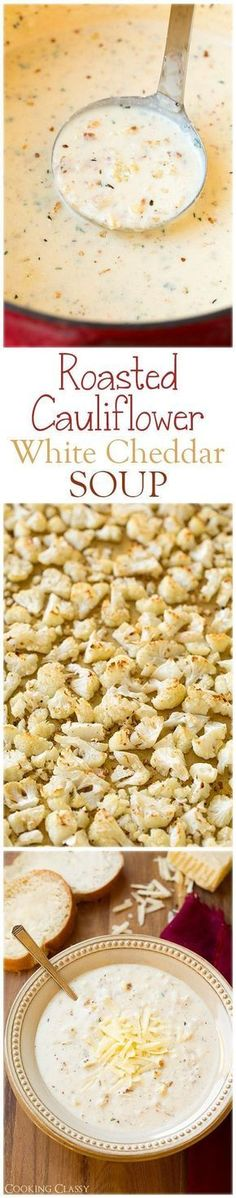 Roasted Cauliflower White Cheddar Soup - this soup is AMAZING! So full of delicious flavors. Roasted Cauliflower White Cheddar Soup - this soup is AMAZING! So full of delicious flavors. Cauliflower Soup Recipes, Roasted Cauliflower, Crockpot Cauliflower, Cauliflower Puree, Cauliflower Casserole, Low Carb Recipes, Diet Recipes, Cooking Recipes, Cooking Videos
