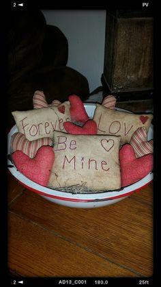 primitive Valentin pillow tucks heart bowl by Nanasgrungyprims