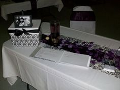 Kijiji: Wedding Linen - White, Black and Eggplant