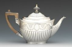 English sterling silver teapot, 1883