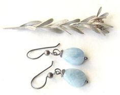 aquamarine dangle earrings with sterling ear wires by theBeadAerie, $29.00