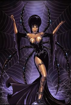 Elvira Like A Spider Queen~Candra Spider Cartoon, Cartoon Witch, Halloween Illustration, Illustration Art, Illustrations, Dark Fantasy, Fantasy Art, Spider Queen, Spider Art