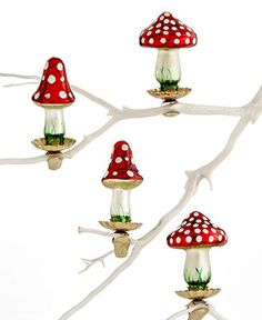 Martha Stewart Collection Christmas Ornaments, Box of 4 Mushroom - Holiday Lane - Macy's Bridal and Wedding Registry