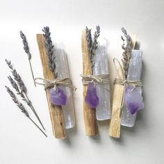 Original Inspired Restoration Bundles - Palo Santo, Selenite, Lavender with choice of Amethyst or Citrine Crystal Point - Idea for guest gifts – Original Inspired Restoration Bundles Palo Santo Selenite Palo Santo Wood, Dried Lavender Flowers, Lavender Wands, Lavender Crafts, Lavender Sachets, Diy Cadeau, Citrine Crystal, Smudge Sticks, Nature Crafts